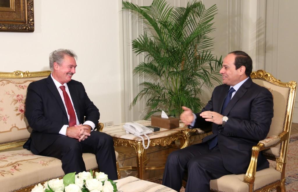 Jean Asselborn avec le  président de la République arabe d'Égypte, Abdel Fattah al-Sissi