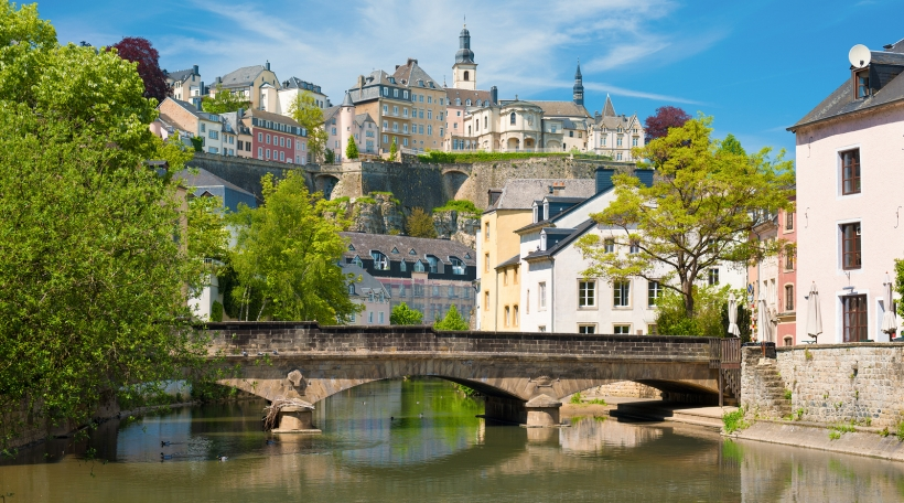 View of Luxembourg city in a sunny summer day