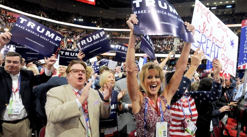 Supporter vum Donald Trump um Parteikongress vun de Republikaner zu Cleveland. Foto: picture alliance