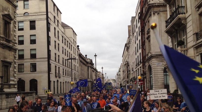 D'Manifestanten hoffen, datt de Brexit net Realitéit gëtt