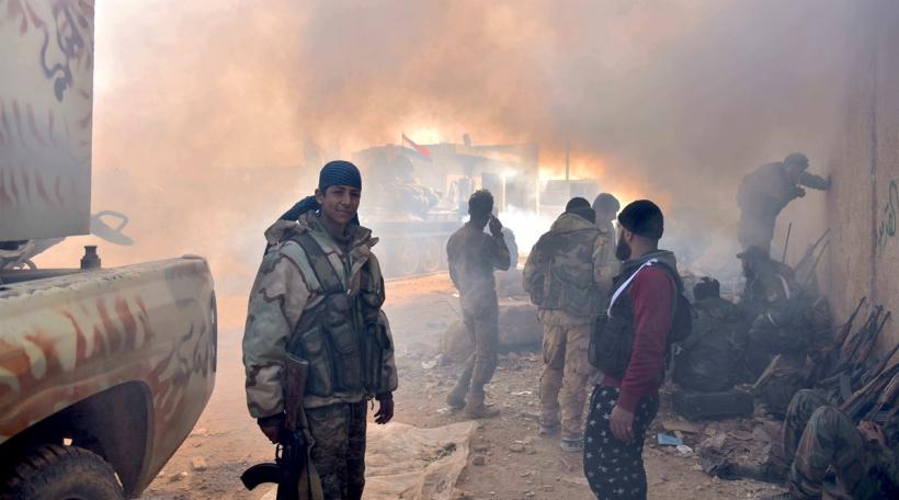 Pro-Regierungs-Zaldoten am Dezember 2016 zu Aleppo