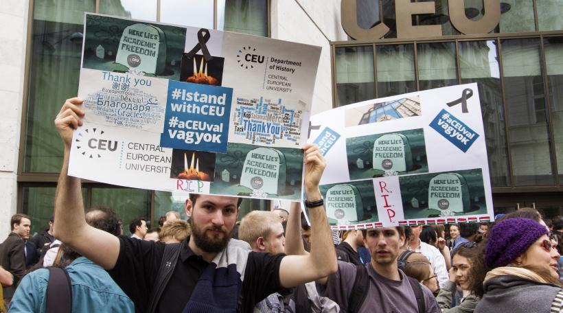 Demonstratioun virun der Central European University zu Budapest
