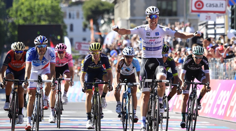 Cycling: 100th Tour of Italy 2017 / Stage 15 Arrival / Bob JUNGELS (LUX) White Best Young Rider Jersey / Nairo QUINTANA (COL)/ Thibaut PINOT (FRA)/ Adam YATES (GBR)/ Vincenzo NIBALI (ITA)/ Tom DUMOULIN (NED) Pink Leader Jersey / Domenico POZZOVIVO (ITA)/