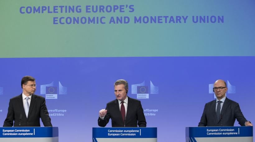 Valdis Dombrovskis, Günther Oettinger, Pierre Moscovici