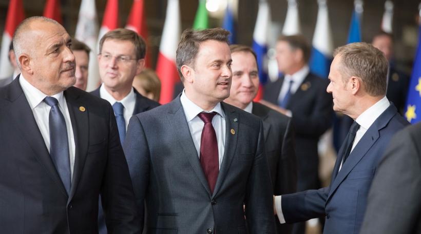 Boyko Borissov, Premier ministre de la République de Bulgarie, Xavier Bettel, Premier ministre, Donald Tusk, Président du Conseil de l'UE