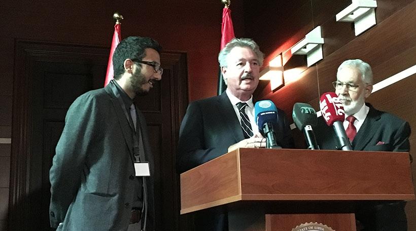 De Jean Asselborn mam Ausseminister vun der international unerkanntener libescher Regierung, Mohamed Ataher Syala