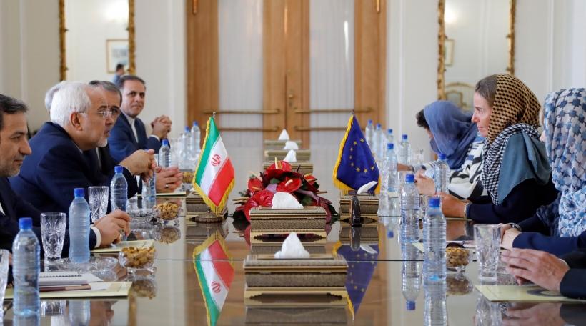 Iraneschen Ausseminister Mohammed Javad Zarif  an Federica Mogherini, Chefdiplomatin vun der EU am August 2017 zu Teheran