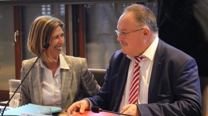 Les ministers Lydia Mutsch et Romain Schneider lors de la Quadripartite