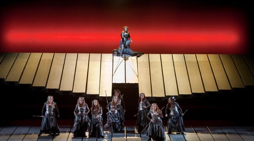 "A scene from Act 3 of Wagner's ""Die Walküre."" Bottom (left to right) Wendy Bryn Harmer as Ortlinde, Marjorie Elinor Dix as Waltraute, Lindsay Ammann as Rossweisse, Molly Fillmore as Helmwige, Kelly Cae Hogan (behind Molly Fillmore) as Gerhilde, Mary Phill"