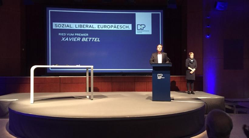 De Xavier Bettel bei der Presentatioun vum DP-Wahlprogramm.