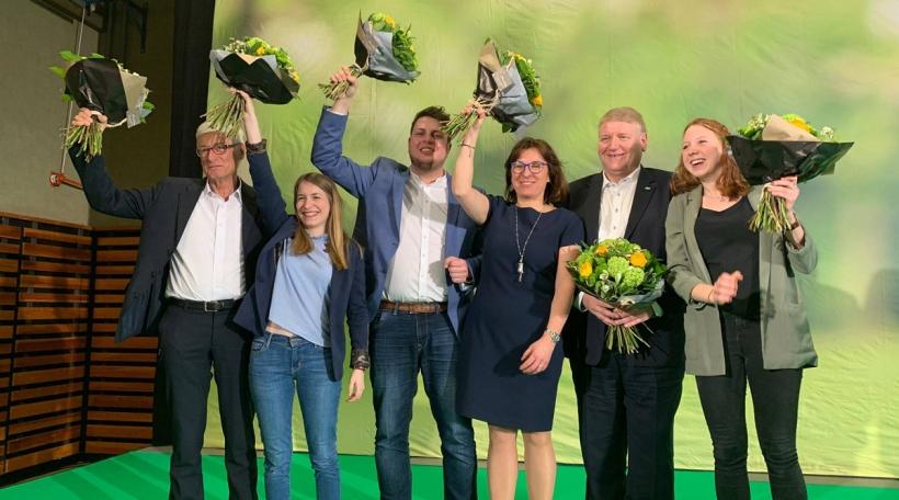 Déi sechs Kandidatinnen a Kandidate fir déi gréng. Foto: Sam Tanson (Facebook).