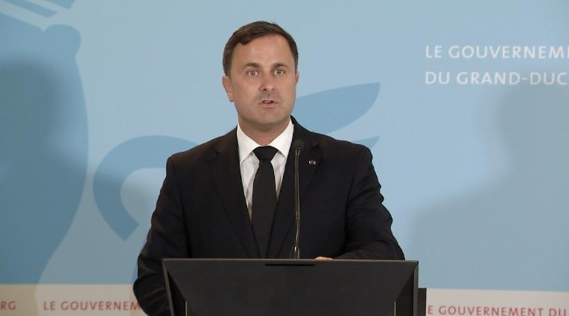 Xavier Bettel bei der Deklaratioun zum Doud vum Grand-Duc Jean