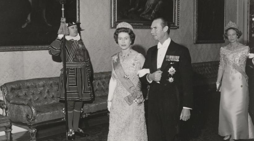 D'Grand-Duchesse Joséphine-Charlotte an de de Grand-Duc Jean bei enger Visitt a Groussbritannien de 16. Juni 1972
