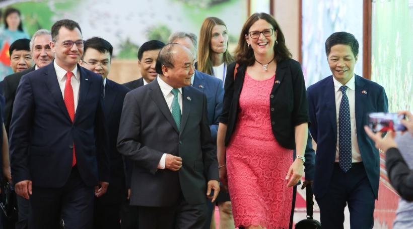 De Vietnamesesche Premierminister Nguyen Xuan Phuc an d'Cecilia Malmström. Foto: Nguyen Thanh Khanh / EC - Audiovisual Service