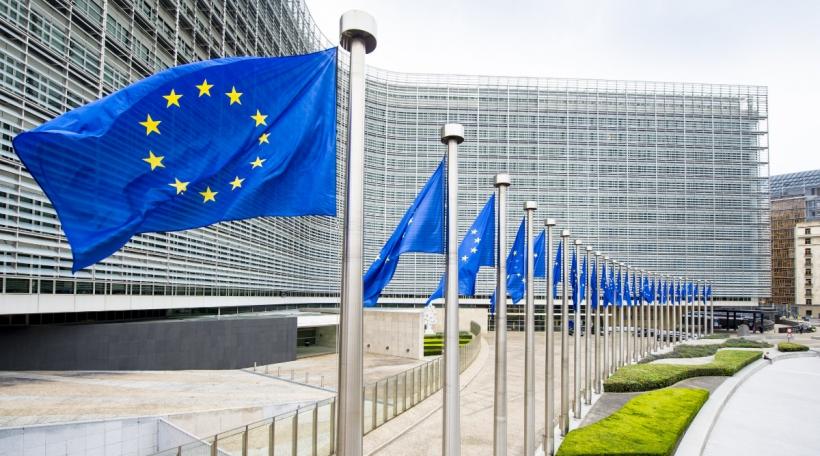 Fändele vun der EU virum Berlaymont-Gebai
