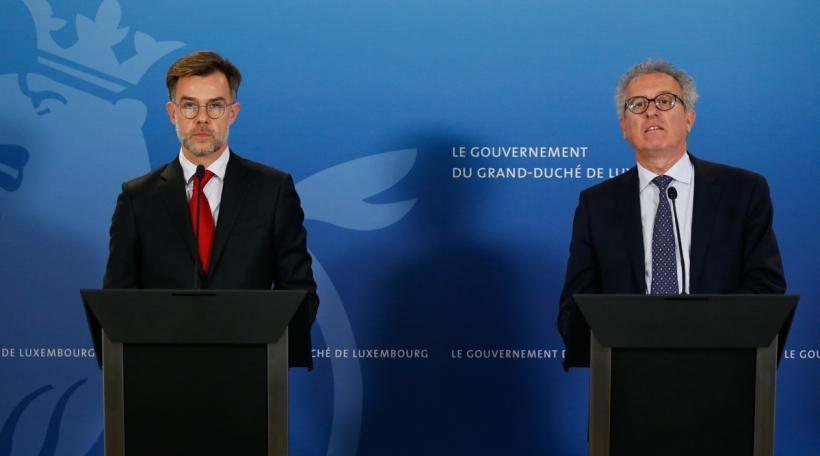 De Wirtschaftsminister Franz Fayot an de Finanzminister Pierre Gramegna