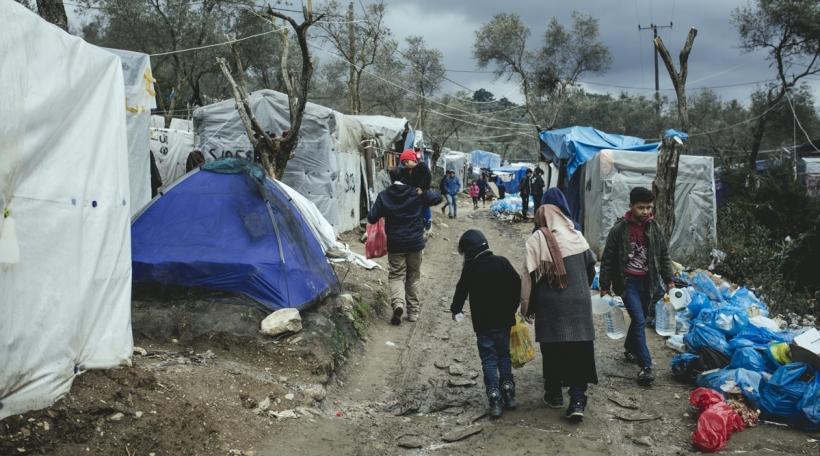 Flüchtlinge am Flüchtlingslager in Moria, Lesbos, Griechenland