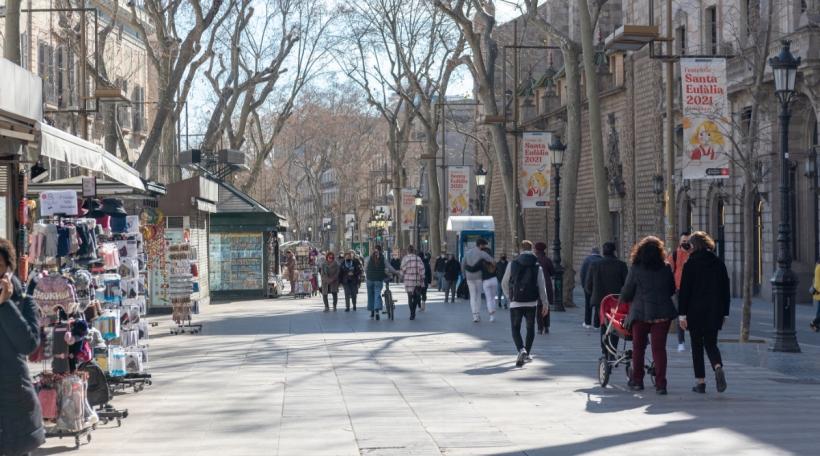 Las Ramblas zu Barcelona a Pandemie-Zäiten