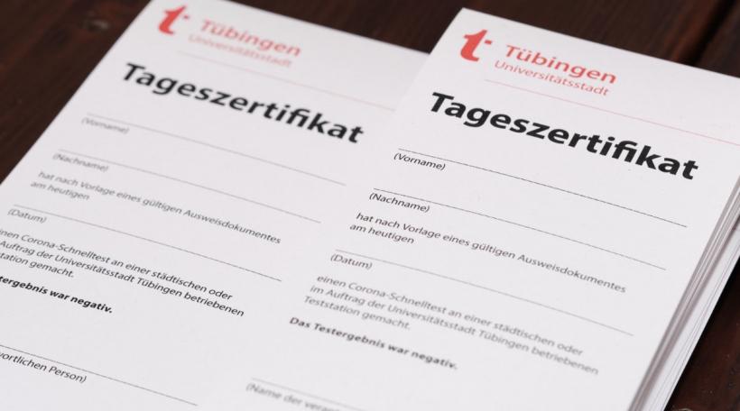 Een Tageszertifikat zu Tübingen