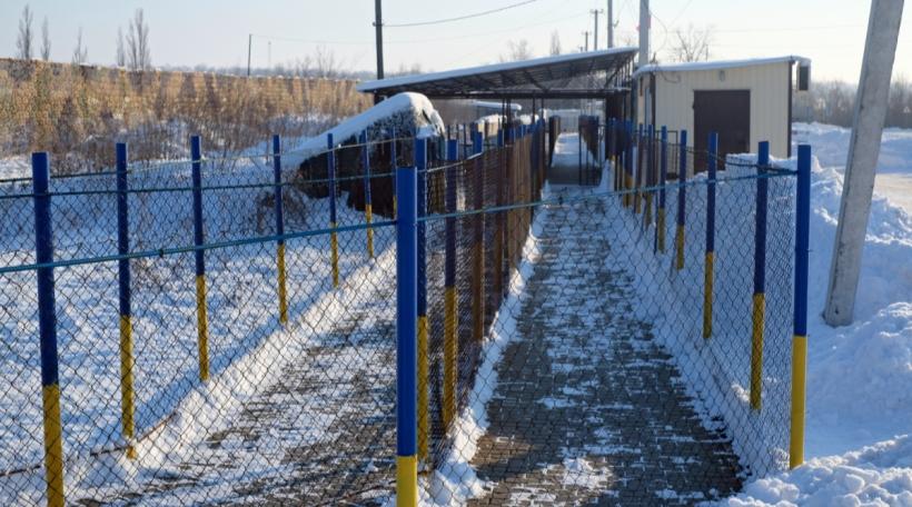 Een Checkpoint an der Donbas Regioun un der ukrainesch-russescher Grenz