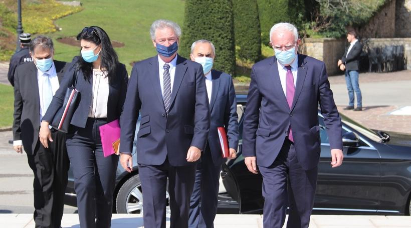 Jean Asselborn, ministre des Affaires étrangères; Riad Malki, ministre des Affaires étrangères et des Expatriés de la Palestine