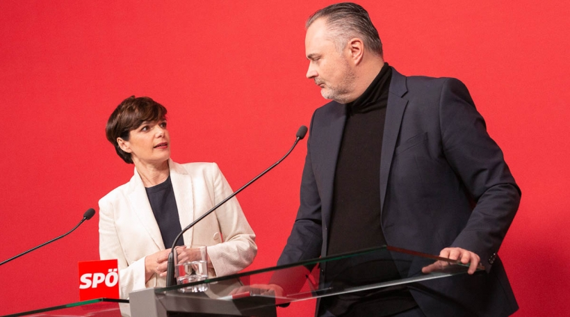 Pamela Rendi Wagner und Hans Peter Doskozil SPÖ bei einer PK in Wien