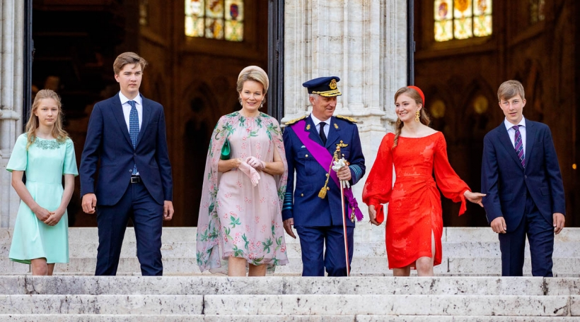 King Filip, Queen Mathilde, Princess Elisabeth, Prince Gabriel, Prince Emmanuel and Princess Eleonore of Belgium leave at the Sint-Michiels-en-Sint Goedelekathedraal in Brussel, on July 21, 2021, after attending the Te Deum on the occasion of the National